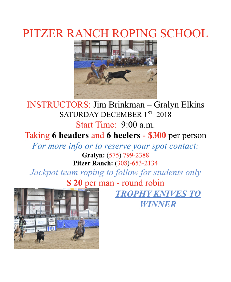 Pitzer Ranch 2018 Roping School